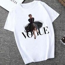 2019 mujeres camiseta Vogue letra Harajuku mujer camiseta ocio moda estética verano Tumblr Vintage Streetwear Tumblr