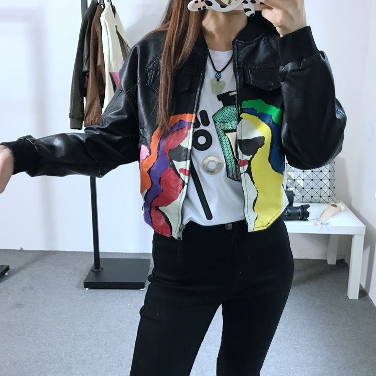 Women s Colorful Punk Printing motorcyle Rock Coat zipper print Graffiti pocket bomber streetwear PU faux Leather short Jacket