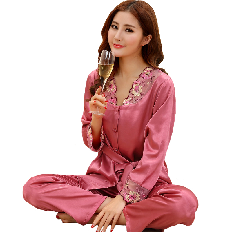 Plus Size XXXL Women Pajamas Pijama Set 2019 New Style 2 Piece Sleepwear Negligee Satin Long Sleeve Nightwear Casual Pyjamas