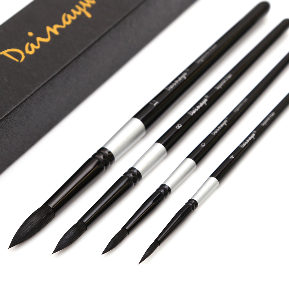 Professional 4Pcs Black Handle Round Brushes set Squirrel Hair Art Painting Brushes for Artistic Watercolor Gouache Wash Mop(China)