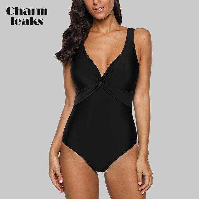 cfbfa8b3c62e7 Charmleaks Women One-Piece High Waist Swimwear Front Cross Swimsuit Sexy  Bodysuit Solid Ruched Monokini