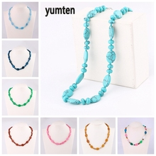 Yumten Beaded Necklaces Women Turquoise Choker Healing Natural Gemstone Reiki Water Droplets Accessories Fashion Crystal Jewelry