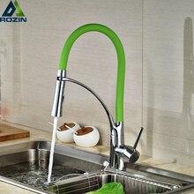 Одной ручкой Chrome зеленый Кухня Раковина кран два носик функции поворотный горячей и холодной раковины судна смесители бортике