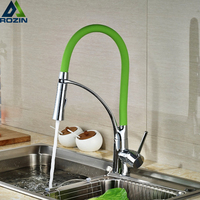 Single Handle Pull Down Spring Spray Kitchen Sink Vessel Faucet Two Spout Swivel Chrome Sink Bar
