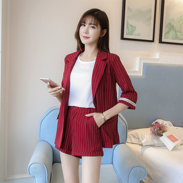 1eae32491f New Fashion Office Lady 2 Two Piece Set Shorts Suit Women Elegant Striped  Blazer Jacket+