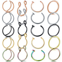 1Pc/Lot Steel Nose Ring 20G Piercing Nariz Rose Gold Fake Septum Ring 18G Piercing Oreille Tragus Earrings Fake Earrings Percing(China)
