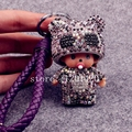 Cute kitten crystal monchichi keychain purple leather buckle key chain Monchhichi  key ring bling bag handbag charm bag bug
