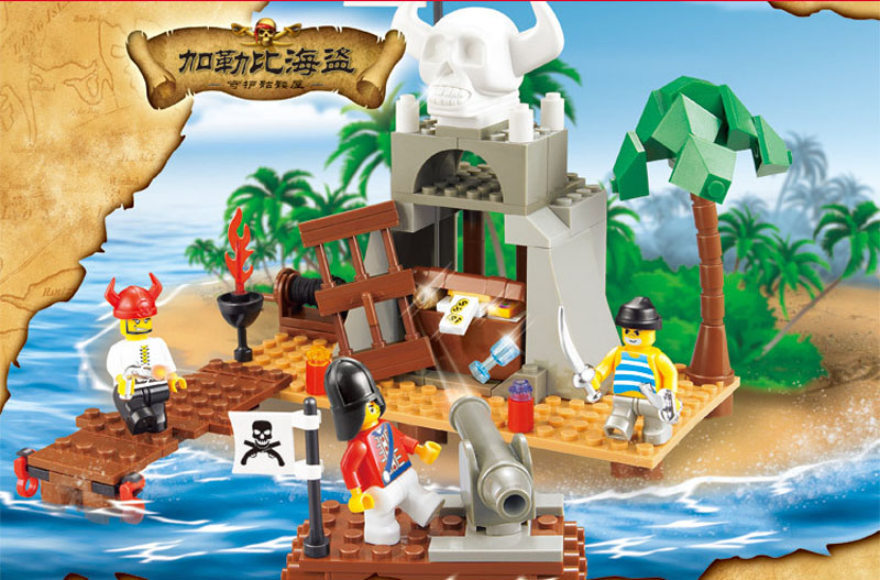 0278 Sluban Pirate Building Block Construction Brick Toys Educational Block Kids Toy Compatible With lego gift kid set lepin 22001 pirate ship imperial warships model building block briks toys gift 1717pcs compatible legoed 10210