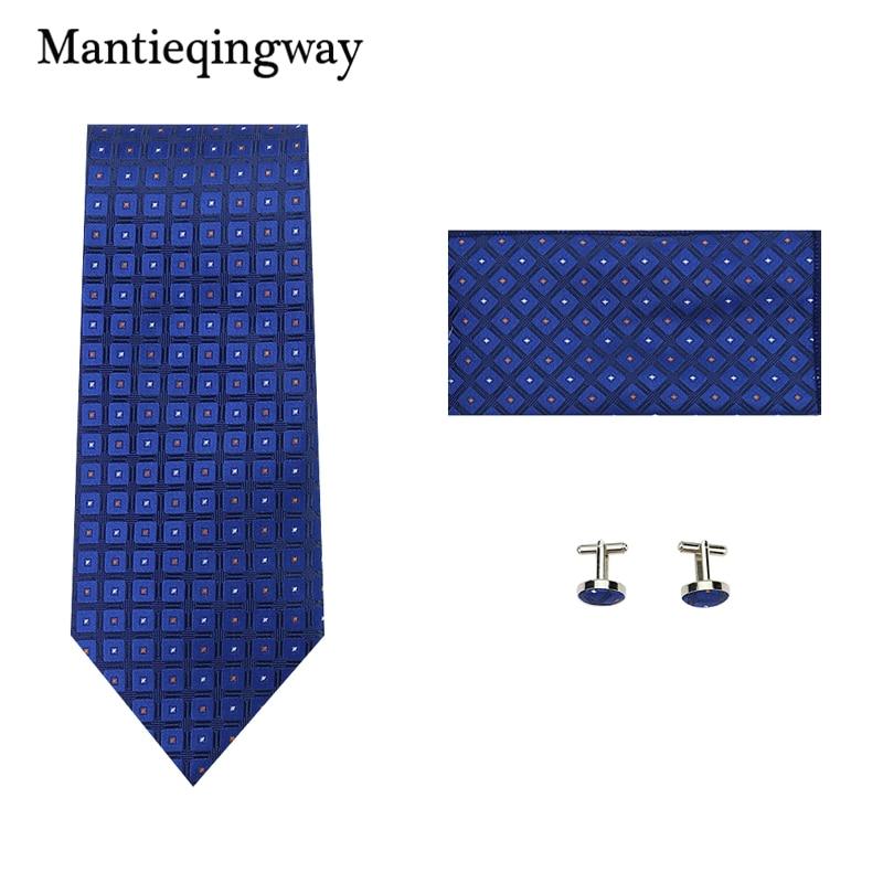 1.5*1.5cm Cufflinks 8.5cm Tie Neckwear Wedding Handkerchief Set For Men Classic Polyester Plaid Business Tie