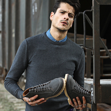 Yomior Мужские ботинки осень-зима Однотонная повседневная обувь замшевые Водонепроницаемый загрузки для человека Платье на шнуровке модные Мужская обувь