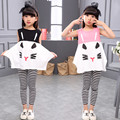 2017 Baby Girls Clothing Sets Cartoon Summer Casual Slevessless T-shirt+Striped Pants Leggings 2pcs Fashion Girls Clothes Suit