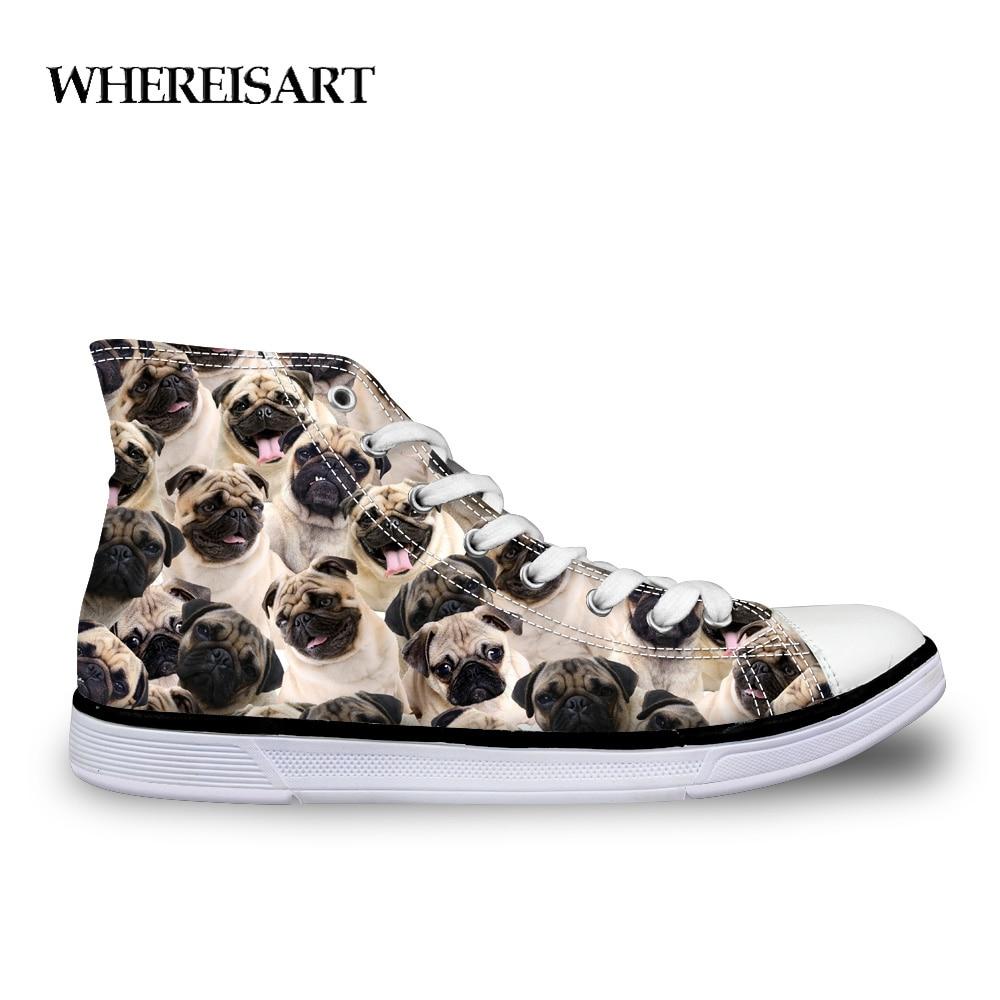 WHEREISART Cute Pug Dog Pattern Womens Vulcanized Shoes Classic Women High Top Canvas Shoes Flats Casual Women's Sneakers Shoes