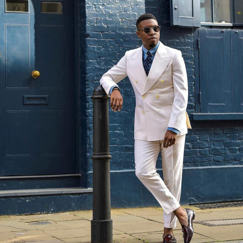 Summer Beige Men Suits For Wedding Man Jacket Double Breasted Groom Tuxedo Best Best Man Blazer 2Piece Slim Fit Costume Homme