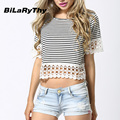 BiLaRyThy Summer Style Women Round Neck Short Sleeve Crop Tops Shirt Casual Striped Lace Hem Short Cropped Tees Shirts