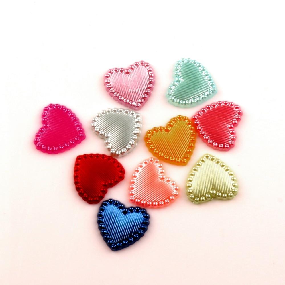 100Pcs Mixed Heart Pearls Beads Craft Handcraft Cabochon Flatback Decoration Embellishments For Scrapbooking Needlework Access(China)