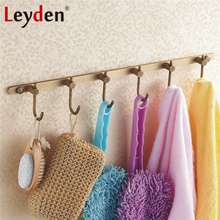 Leyden Coats Hooks Towel Rack Holder Antique Brass Brushed Bronze Wall Mount Classical All Copper Rustic Row Hooks with 6 Hooks