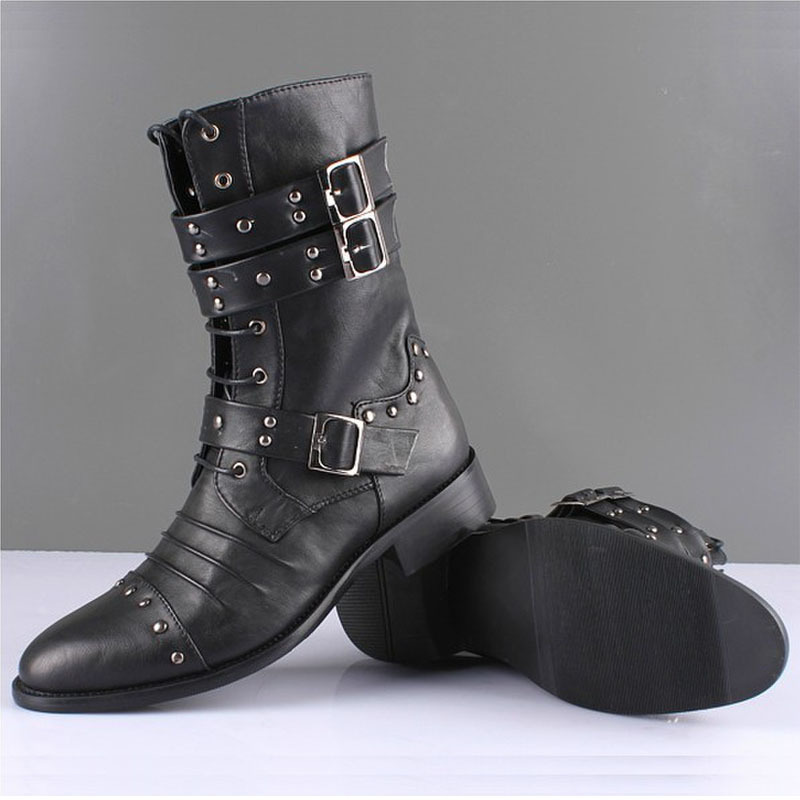 d7e2c2a0064 Men Motorcycle Boots Fashion Winter Men Vintage Combat Army Punk Goth Ankle Shoes  Men Biker Genuine Leather Short Snow Boots-in Ankle Boots from Shoes on ...