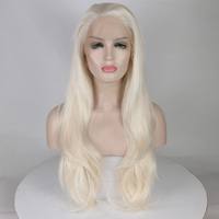 Fantasy Beauty Glueless Platinum Blonde Synthetic Lace Front Wig Long Wavy Wigs for Women Heat Resistant Fiber 24 Inches