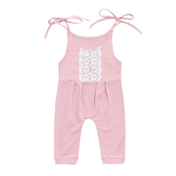 2018 New Newborn Baby Boy Girl Romper Lace Jumpsuit Kids Clothes Girls Boys Rompers Pink Sleeveless Summer Clothes OutfitP5