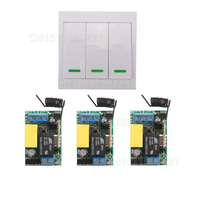 AC 220V 3CH Channel Remote Control Switch Wall Panel Wall Transmitter Remote Home Room Stairway Light