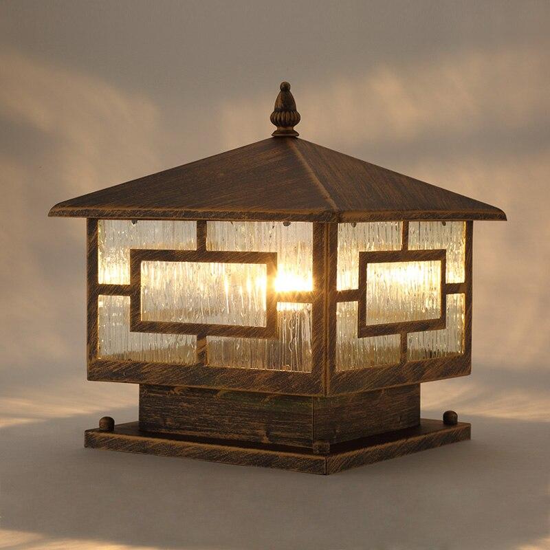 Column Headlights Outdoor Square Lights Waterproof Rain Retro Outdoor  Garden Lamps Lawn Lamp(China (