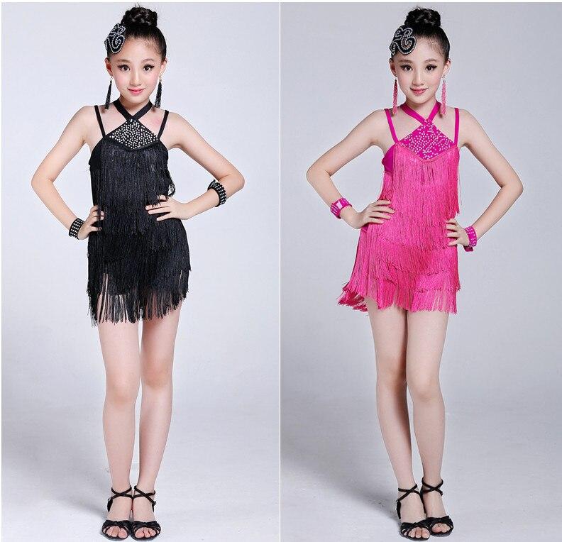 2018 été 110-160 cm fille enfants frange gland jupe robes latines pour salle de bal/Salsa/Tango scène spectacle danse noir blanc