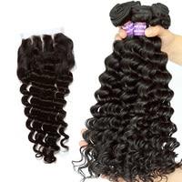 4Pcs Deep Wave Bundles With Closure 3 Brazilian Weave Human Hair Bundles With Closure Remy Ever Beauty Hair
