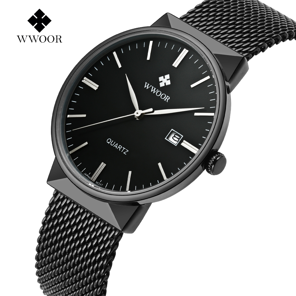 WWOOR Men's Watches Luxury Brand Sport Business Watch Men Quartz Date Clock Male Mesh Belt Casual Wrist watch Relogio Masculino wwoor waterproof ultra thin date clock male stainess steel strap casual quartz watch men wrist sport watch 3 colors