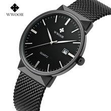 WWOOR Hombres Relojes de Marca de Lujo del Reloj Del Negocio Del Deporte del Cuarzo de Los Hombres Fecha de Hombre Cinturón de Malla Casual reloj Relogio Masculino