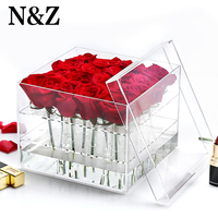 New Arrival Acrylic Rose Box Flower Holder Eyebrow Pencil Storage Makeup Organizer With Lid Keep Flower