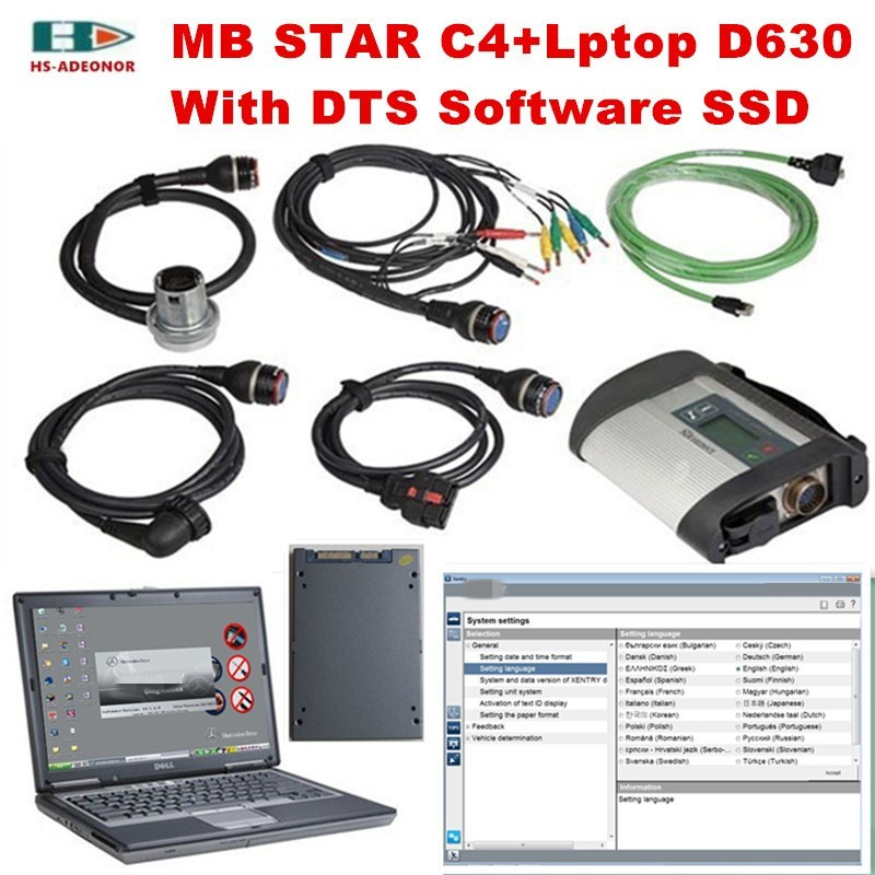 US $661 48 8% OFF|Multi language OBD2 scanner MB STAR C4+Laptop D630+Latest  2019 03 software SSD full set car Diagnostic tool sd Connector star c4-in