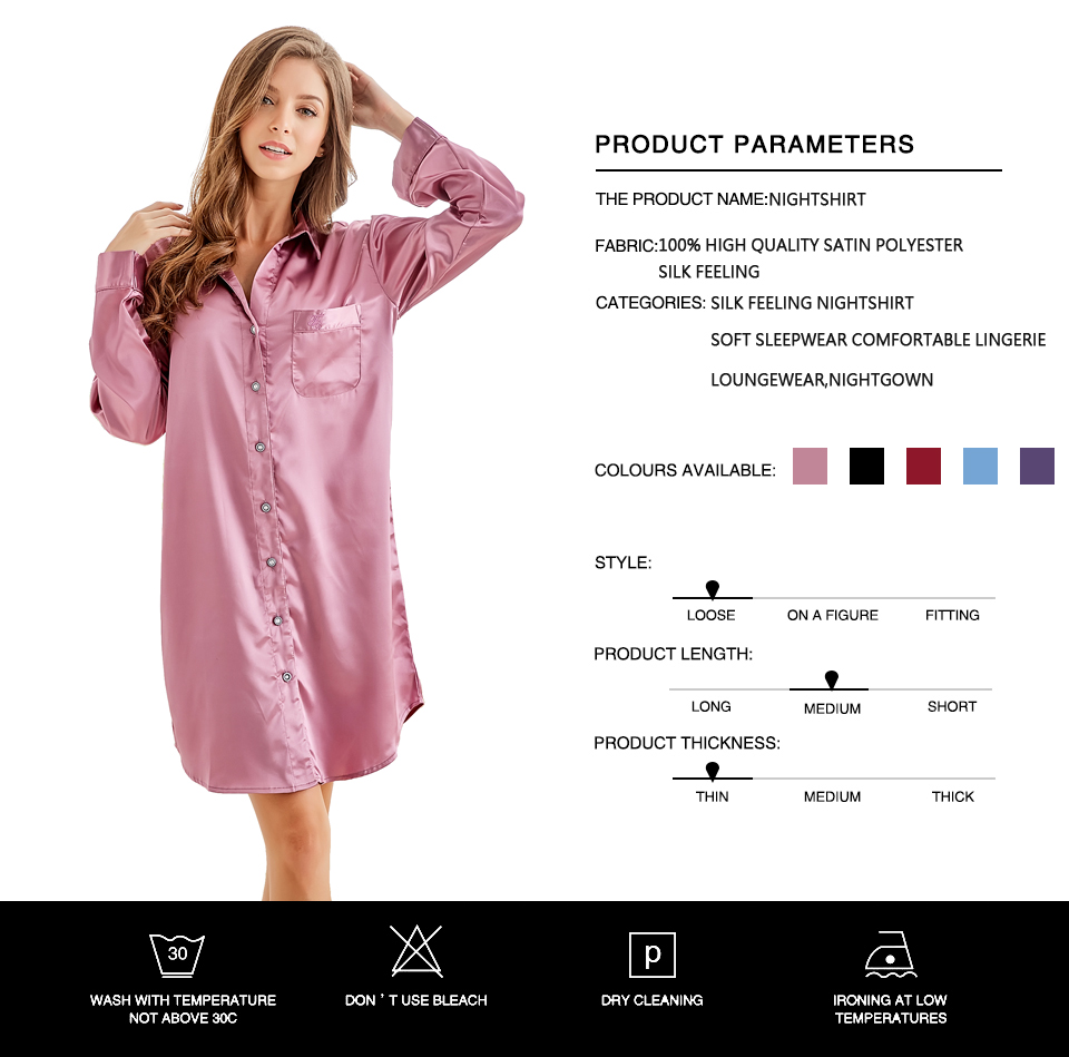 Tony Candice Women s Nightshirt Satin Silk Sleepwear Sexy Female ... 77be5b524