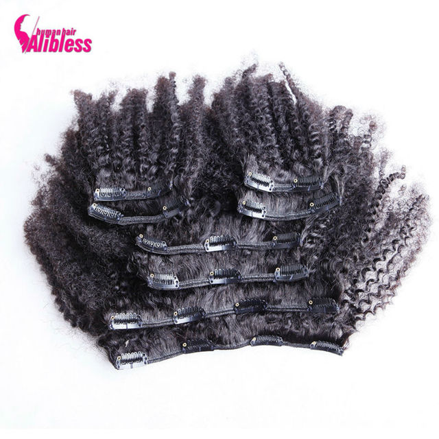 7A Crespo Afro Brasileira Extensões Do Cabelo Grampo Em Extensões Do Cabelo 120 g/set Clipes Em cabelo Humano Virgem Não Processado Afro Crespo Encaracolado cabelo
