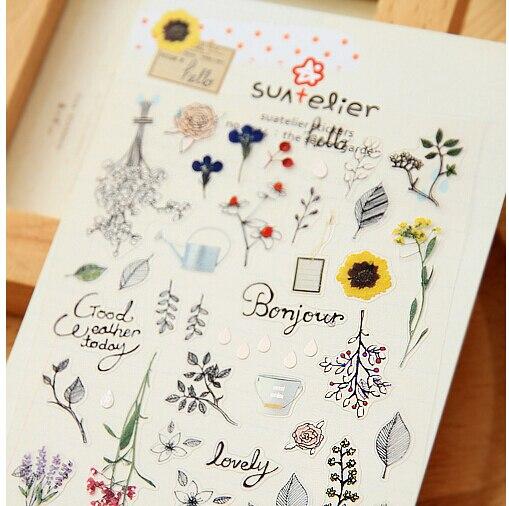 Secret Garden Flower Leaf DIY Scrapbooking Stickers Decorative Sticker Diary Decor Photo Album Decals