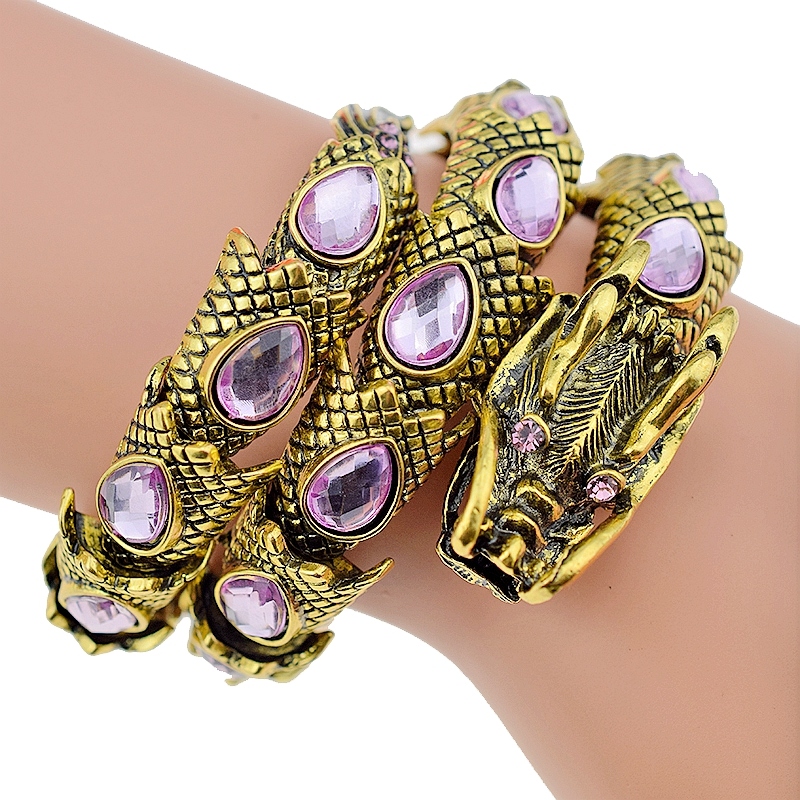 Stretch Dragon Bracelets for Women Armlet Upper Arm Cuff Punk Rock Crystal Antique Gold Color Bangles Jewelry Accessories