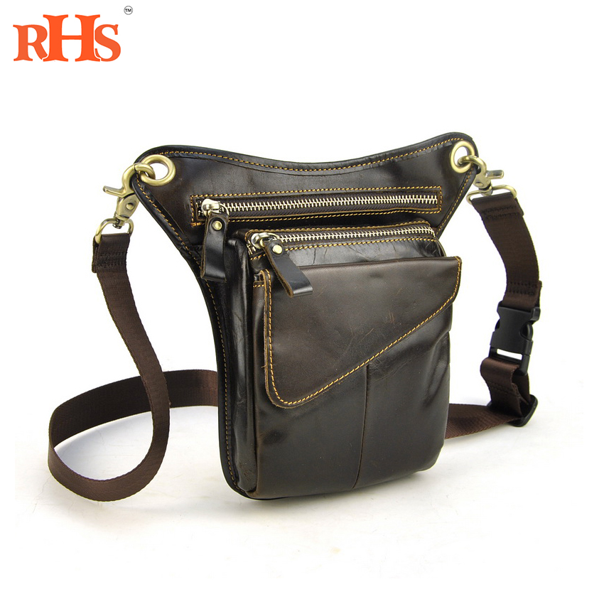 Men Genuine Real leather Leg Bag Waist Pack Belt Bicycle Motorcycle Travel Casual Retro Fanny vintage bags real genuine leather cowhide men waist pack pouch for men leather waist bag outdoor travle belt wallets vp j7144