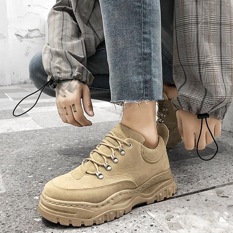 gris Casual Respirant Croissante Khaki Nouveau Homme 2019 Printemps Jeunesse Cuir Sneakers Chaussures De Élégant En Hommes Plein Hauteur 2a La Air noir 4Cn1Oqwn