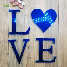 3D English Letters Acrylic Mirror Surface Wall Sticker Blue Self-adhesive LOVE Alphabet Bedroom Poster Home Decor DIY Art Mural(China)