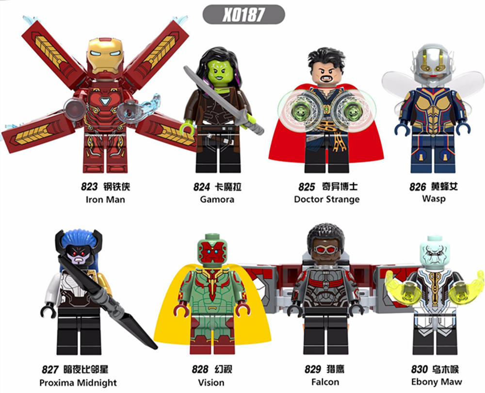 8pcs Super Heroes Iron Man Doctor Strange Wasp Proxima Midnight Vision Falcon Ebony Maw Gamora Building Blocks Toys
