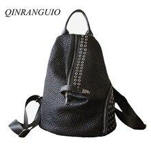 QINRANGUIO Genuine Leather Backpack Women 2020 Fashion Womens Backpack Large Capacity Black Rivet School Backpack For Teenager