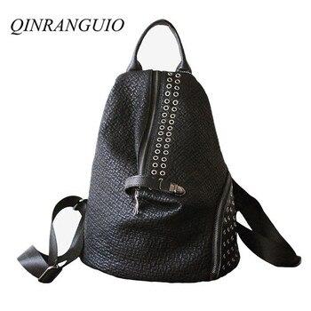 QINRANGUIO Genuine Leather Backpack Women 2020 New Design Fashion Large Capacity Black Rivet School