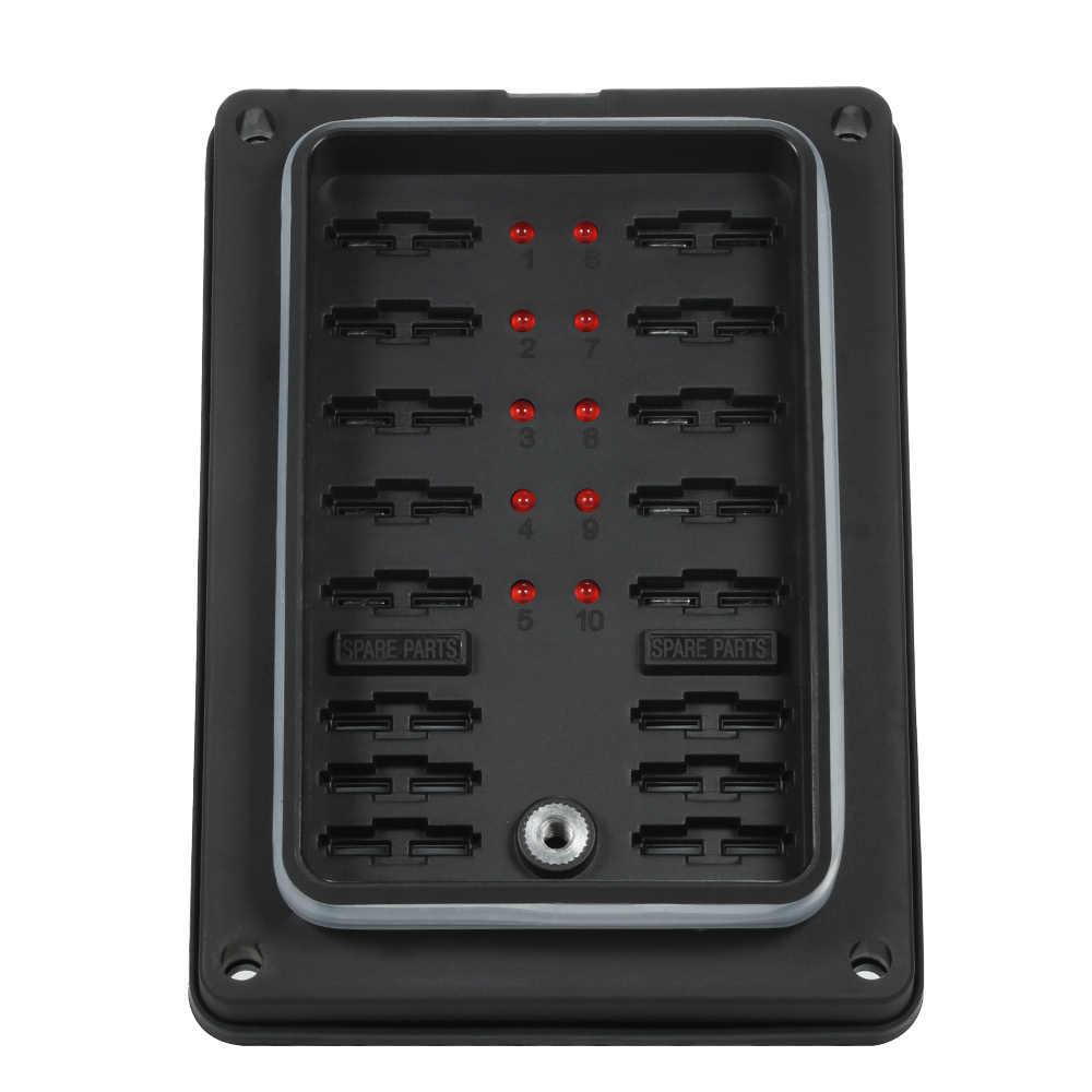 ใหม่ 10 WAY Blade ฟิวส์กล่องผู้ถือไฟ LED สำหรับรถยนต์เรือ Marine Caravan + 16 PCS