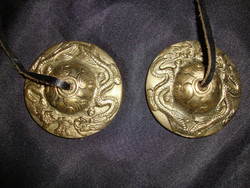 Podniesione mosiądz smok tybetański Tingsha dzwony Manjira talerze 6.5 cm