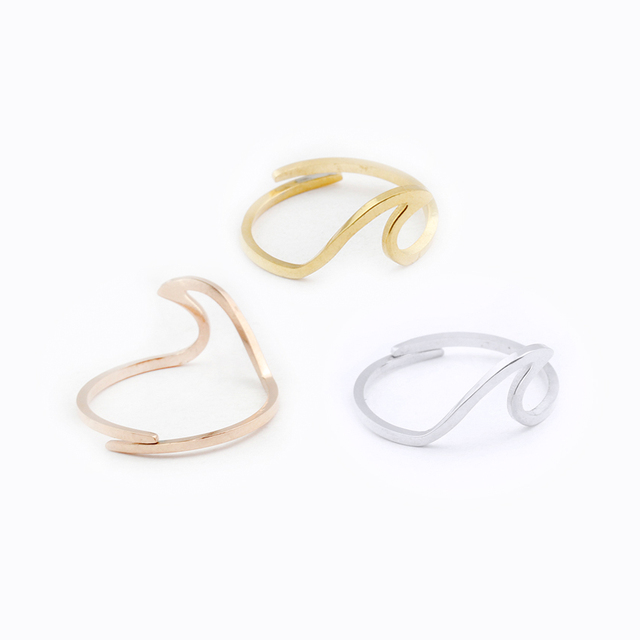 Simple Summer Beach Wave Ring Handmade Wire Wrap Surf Rings For Women Stainless