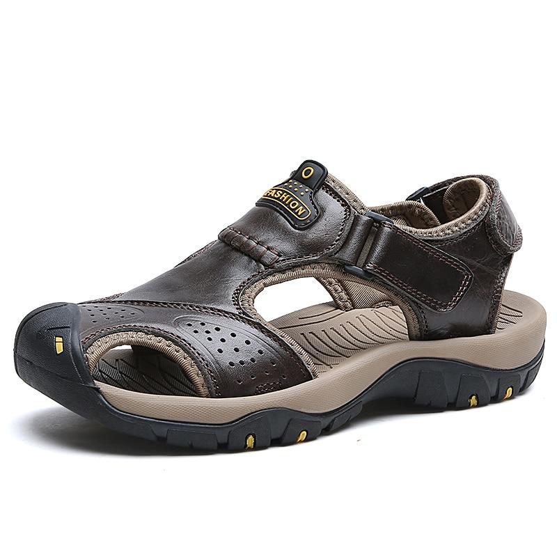 Luxe D'été Mode marron Masculine Hommes kaki Sandalias En Véritable Fond Chaussures Sandales De Plage Mou Cuir 2017 Respirant Noir XqXvwRzt