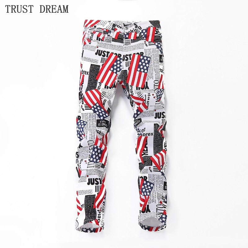 2018 New Paris Style Men's Slim White Print Pants US Flag Male Floral Trousers Personal Fashion Man Quality Club Casual Pant