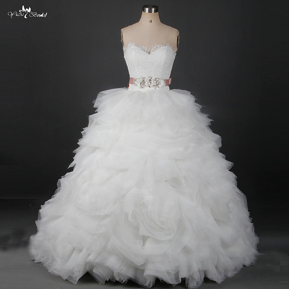 Wedding Gowns With Ruffles: RSW913 Tulle Ruffle Skirt Vintage Lace Wedding Dress With