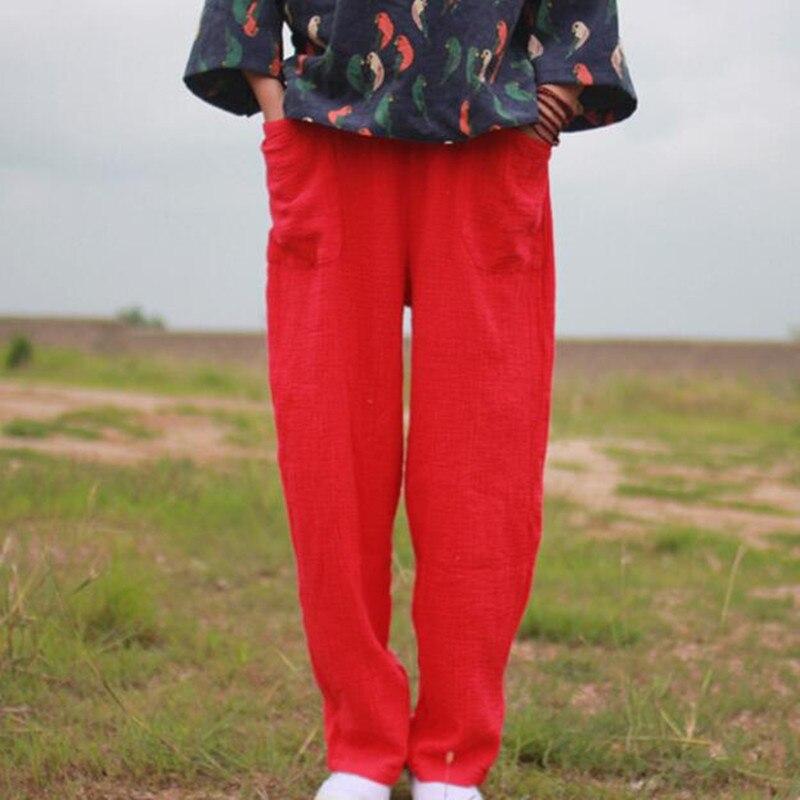 3ac5975f859 2018 Spring women full length cotton linen pants