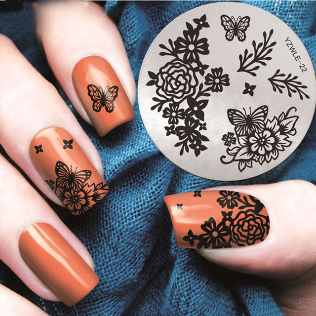 Rose butterfly nail stamping plates 2017 spring nail art stamp rose butterfly nail stamping plates 2017 spring nail art stamp plate nail design nail image plate prinsesfo Choice Image