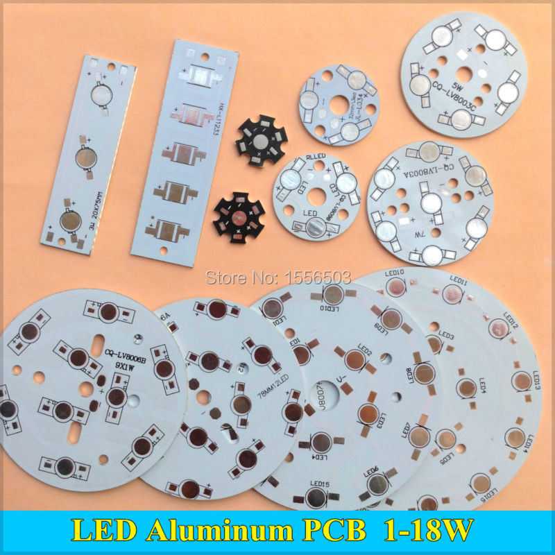 цена на 10Pcs LED Power PCB Board Plate Lamp Panel Aluminum Heat sink 1W 3W 5W 7W 9W 12W 15W 18W Circle Rectangle LED Lamp Chip Base